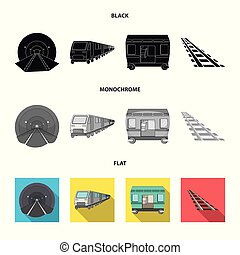 Vector design of railroad and train logo. Set of railroad and way stock vector illustration.