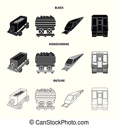 Vector design of railroad and train logo. Set of railroad and way vector icon for stock.