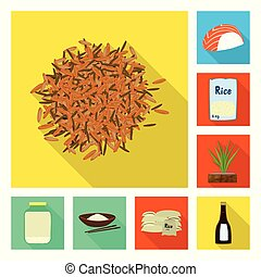 Vector design of raw and agricultural symbol. Collection of raw and ecological stock symbol for web.