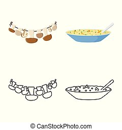 Vector design of raw and summer icon. Set of raw and ingredient stock vector illustration.