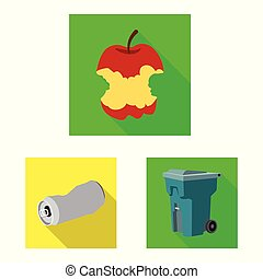 Vector illustration of refuse and junk symbol. Collection of refuse and waste stock vector illustration.