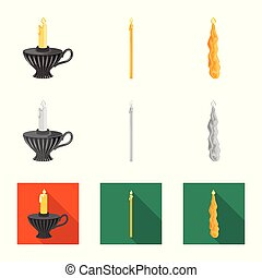 Vector design of relaxation and flame symbol. Collection of relaxation and wax stock symbol for web.