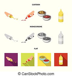 Vector design of sauce and condiment icon. Set of sauce and bowl stock vector illustration.