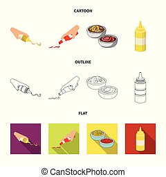 Vector design of sauce and condiment symbol. Collection of sauce and bowl vector icon for stock.