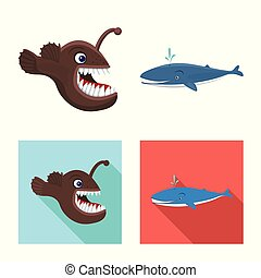 Vector design of sea and animal sign. Collection of sea and marine vector icon for stock.