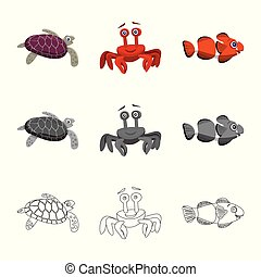 Vector design of sea and animal symbol. Collection of sea and marine stock symbol for web.