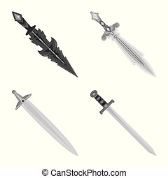 Vector design of sharp and blade sign. Set of sharp and dagger vector icon for stock.