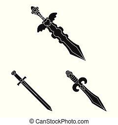 Vector design of sharp and blade symbol. Set of sharp and dagger stock vector illustration.