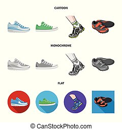 Vector design of shoe and sport icon. Collection of shoe and fitness stock symbol for web.