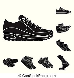 Vector design of shoe and sport logo. Collection of shoe and fitness stock symbol for web.