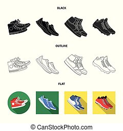 Vector design of shoe and sport logo. Collection of shoe and fitness vector icon for stock.