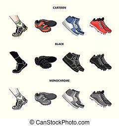Vector design of shoe and sport logo. Set of shoe and fitness stock symbol for web.