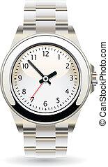 silver wristwatch - vector design of silver wristwatch