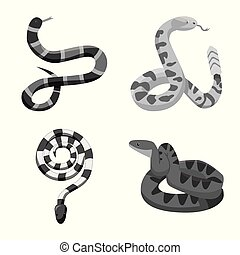 Vector design of snake and creepy icon. Set of snake and animal stock symbol for web.