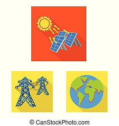 Vector design of Solar and panel logo. Collection of Solar and green vector icon for stock.