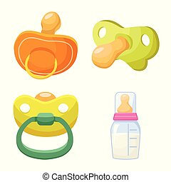 Vector design of soother and baby icon. Collection of soother and care vector icon for stock.