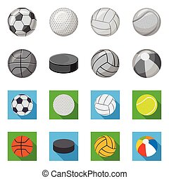 Vector design of sport and ball sign. Set of sport and athletic vector icon for stock.