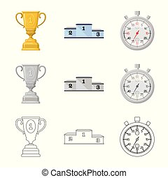 Vector design of sport and winner symbol. Collection of sport and fitness vector icon for stock.
