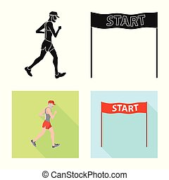 Vector design of sport and winner symbol. Set of sport and fitness vector icon for stock.