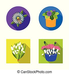 Vector design of spring and wreath sign. Collection of spring and blossom stock symbol for web.
