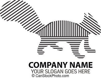Squirrel Line Silhouette Logo Icon