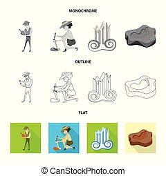 Vector design of story and items icon. Set of story and...