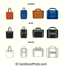 Vector design of suitcase and baggage sign. Set of suitcase and journey stock symbol for web.