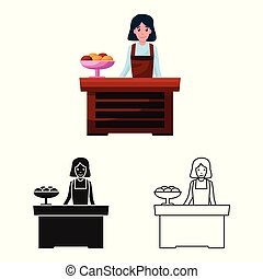 Vector design of table and cake symbol. Set of table and woman vector icon for stock.