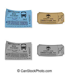 Vector design of ticket and admission icon. Set of ticket and event stock vector illustration.