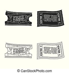 Vector design of ticket and admission logo. Collection of ticket and event stock vector illustration.