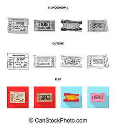 Vector design of ticket and admission logo. Set of ticket and event stock vector illustration.