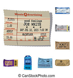Vector design of ticket and admission sign. Set of ticket and event stock vector illustration.