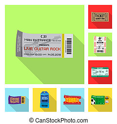 Vector design of ticket and admission symbol. Collection of ticket and event stock vector illustration.
