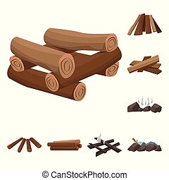 Vector design of timber and nature sign. Set of timber and construction stock symbol for web.