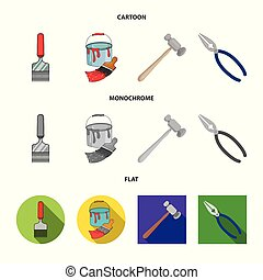 Vector design of tool and construction logo. Set of tool and carpentry stock vector illustration.