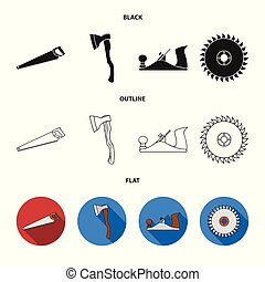 Vector design of tool and construction sign. Collection of tool and carpentry stock symbol for web.