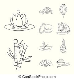 Vector design of traditional and travel logo. Collection of traditional and landmark vector icon for stock.