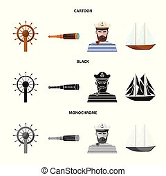 Vector design of travel and attributes logo. Collection of travel and seafaring stock symbol for web.