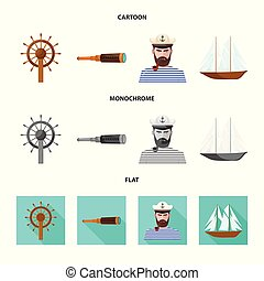 Vector design of travel and attributes sign. Collection of travel and seafaring stock symbol for web.