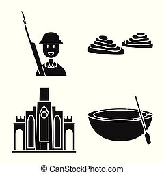 Vector design of travel and country icon. Collection of travel and landmark stock symbol for web.