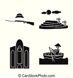 Vector design of travel and country icon. Collection of travel and national vector icon for stock.