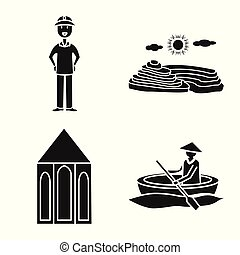 Vector design of travel and country sign. Collection of travel and national vector icon for stock.