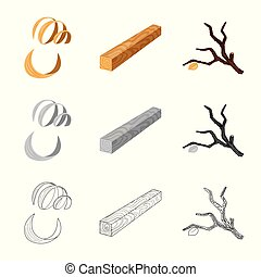Vector design of tree and raw sign. Collection of tree and construction stock vector illustration.
