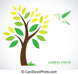 Vector design of trees and hummingbird on white background