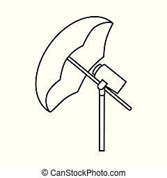 Vector design of umbrella and light symbol. Collection of umbrella and setup vector icon for stock.
