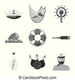 Vector design of vintage and nautical logo. Set of vintage and attributes stock symbol for web.