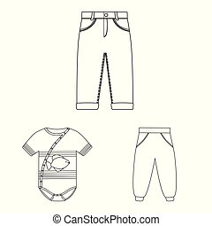 Vector design of wear and child icon. Collection of wear and apparel stock symbol for web.