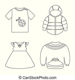 Vector design of wear and child icon. Set of wear and apparel stock symbol for web.