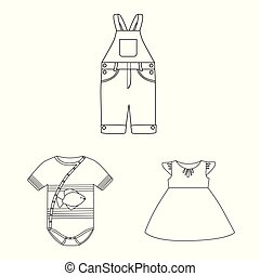 Vector design of wear and child logo. Set of wear and apparel stock symbol for web.
