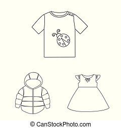 Vector design of wear and child symbol. Set of wear and apparel vector icon for stock.